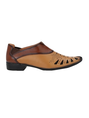tan Leatherette slip on sandal - 14900664 - Standard Image - 2