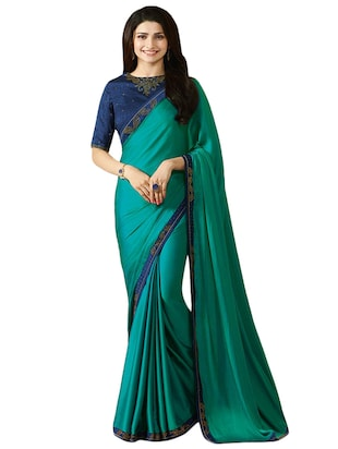 turquoise georgette printed saree with blouse