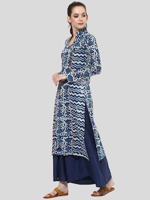 Indian Dobby blue cotton straight kurta - 14901685 - Standard Image - 2