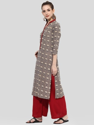 brown cotton straight kurta - 14901689 - Standard Image - 2