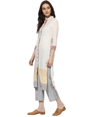 Indian Dobby white cotton straight kurta - 14901713 - Standard Image - 2