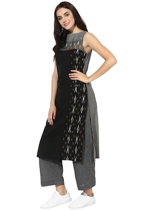 Indian Dobby grey cotton straight kurta - 14901717 - Standard Image - 2
