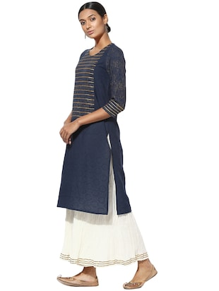 Indian Dobby blue cotton straight kurta - 14901721 - Standard Image - 2