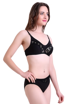 black hosery bra and panty set - 14901742 - Standard Image - 2
