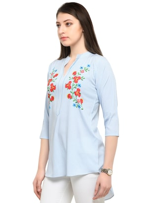 blue printed crepe tunic - 14901908 - Standard Image - 2