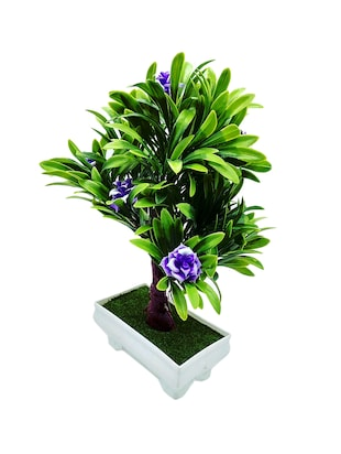 Artificial Plant Bonsai Tree With Green Leaves and Large Purple Flowers - 14902088 - Standard Image - 2