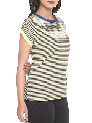 black striped georgette tee - 14902274 - Standard Image - 2
