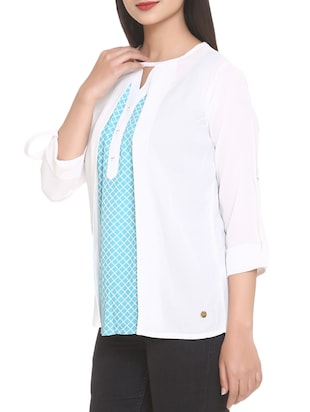white printed georgette top - 14902278 - Standard Image - 2