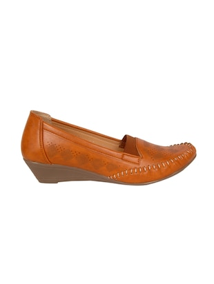 tan faux leather slip on loafers - 14902449 - Standard Image - 2