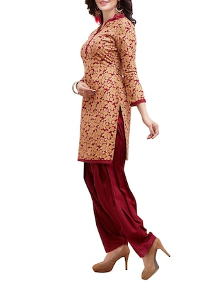 maroon cotton unstitched suit - 14902870 - Standard Image - 2