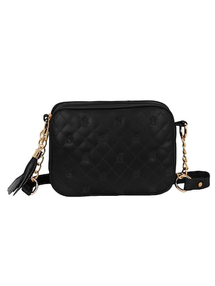black leatherette regular sling bag - 14903026 - Standard Image - 2