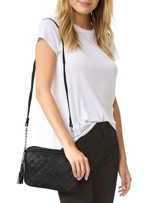 black leatherette regular sling bag - 14903026 - Standard Image - 5