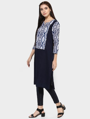 Indian Dobby blue cotton straight kurta - 14903231 - Standard Image - 2