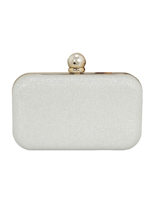silver metal box clutch - 14903584 - Standard Image - 2
