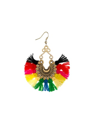 multi colored metal drop earrings - 14903734 - Standard Image - 2