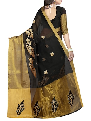 black cotton silk embroidered saree with blouse - 14904269 - Standard Image - 2