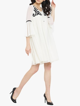 white solid a-line dress - 14904856 - Standard Image - 2