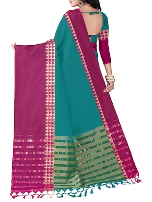 turquoise cotton silk woven saree with blouse - 14905286 - Standard Image - 2