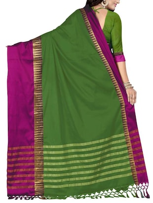 green cotton silk woven saree with blouse - 14905289 - Standard Image - 2