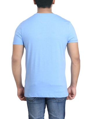 turquoise cotton chest print tshirt - 14905573 - Standard Image - 2