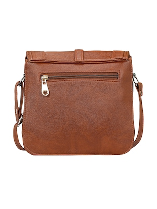 brown leatherette  regular sling bag - 14905666 - Standard Image - 2
