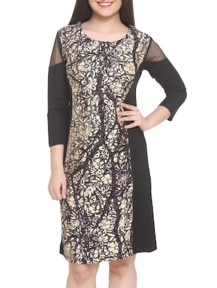 black printed a-line dress - 14905675 - Standard Image - 2