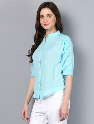 solid blue cotton shirt - 14905835 - Standard Image - 2