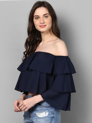 off shoulder layered crop top - 14905850 - Standard Image - 2