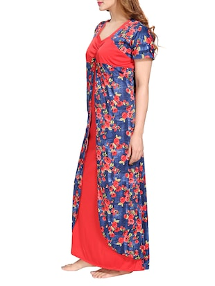 multi colored satin nightwear gown - 14905859 - Standard Image - 2