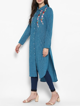 blue cotton highlow kurta - 14905949 - Standard Image - 2