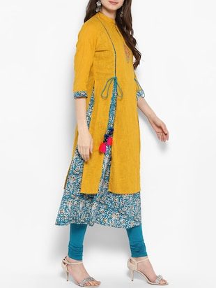 mustard cotton layered kurta - 14906003 - Standard Image - 2