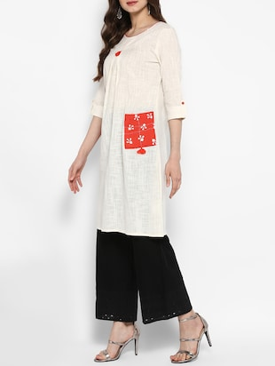 A-line kurta with patch pocket - 14906933 - Standard Image - 2