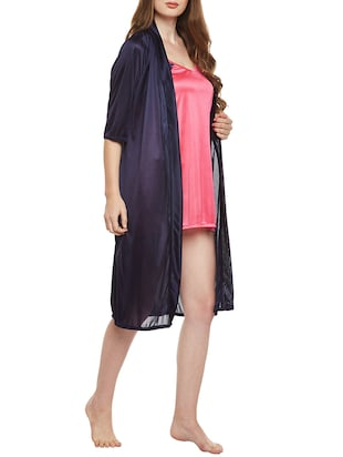 multi colored nighty with robe - 14907427 - Standard Image - 2