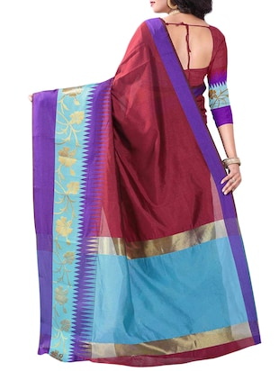 maroon cotton woven saree with blouse - 14907931 - Standard Image - 2