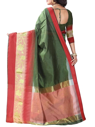 multi cotton woven saree with blouse - 14907932 - Standard Image - 2