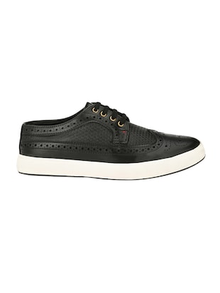 black leatherette lace up sneaker - 14908066 - Standard Image - 2