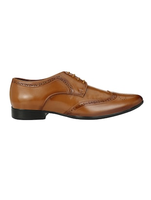 tan leatherette lace-up derby - 14908068 - Standard Image - 2