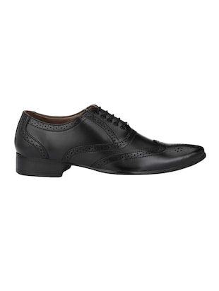 black leatherette lace-up brouge - 14908069 - Standard Image - 2