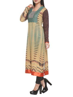 beige cotton blend straight kurta - 14908237 - Standard Image - 2
