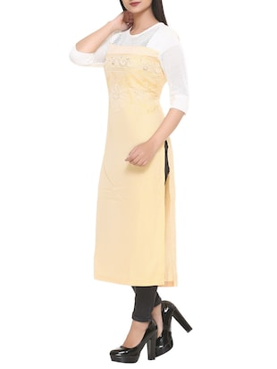 yellow cotton blend straight kurta - 14908240 - Standard Image - 2