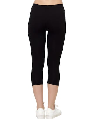 black cotton capri legging - 14909300 - Standard Image - 2