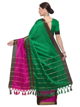 Color block bordered saree with blouse - 14909527 - Standard Image - 2