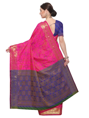 Zari bordered woven saree with blouse - 14909550 - Standard Image - 2