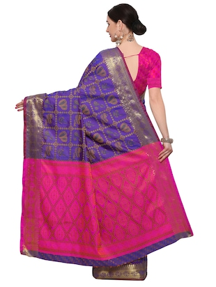 blue silk blend woven saree with blouse - 14909556 - Standard Image - 2