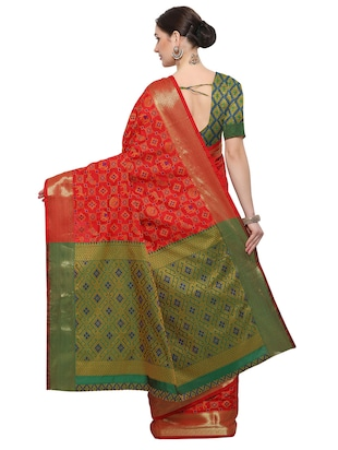 Conversational woven saree with blouse - 14909566 - Standard Image - 2