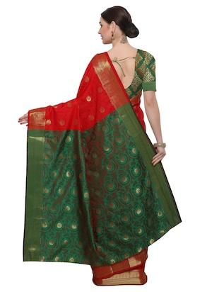 Zari floral woven saree with blouse - 14909574 - Standard Image - 2