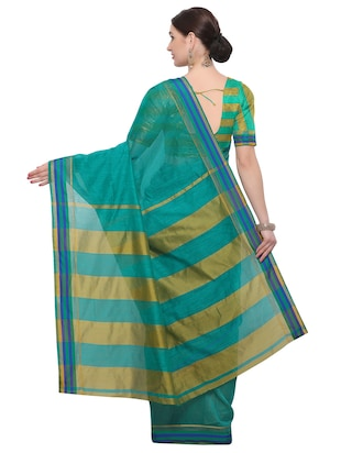 Stripes bordered chanderi saree with blouse - 14909576 - Standard Image - 2