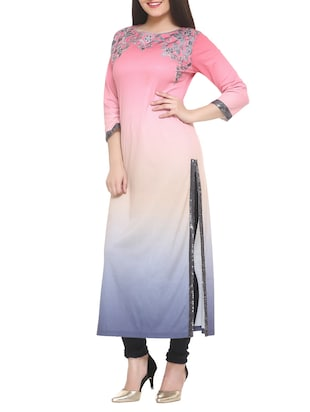 pink cotton blend straight kurta - 14910034 - Standard Image - 2