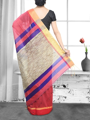 peach cotton handloom saree - 14910118 - Standard Image - 2