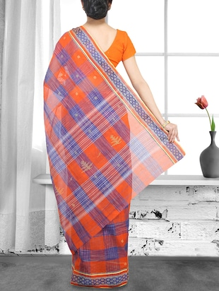 orange handloom saree - 14910143 - Standard Image - 2